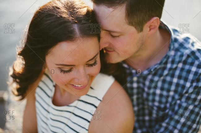 Portrait of happy couple up close