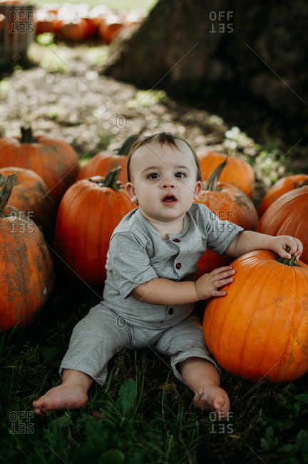 Baby sitting by pumpkins at a pumpkin patch