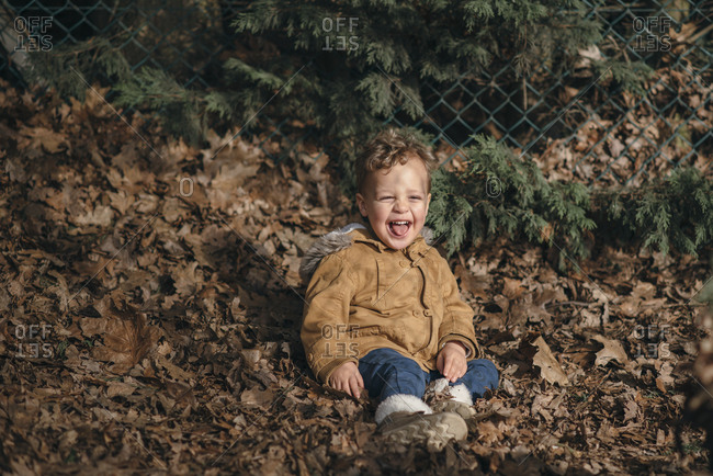 Young boy sits in leaves near a fence