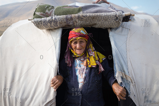 Old woman in a tent in an Iranian village