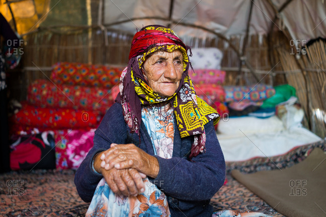 Old woman living in tent