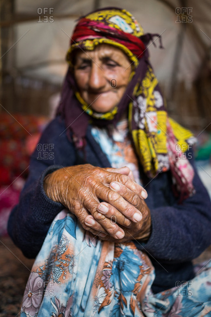 Portrait of an old Iranian woman in her tent