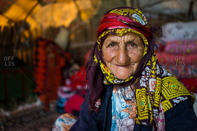 Old woman living in tent in Iran