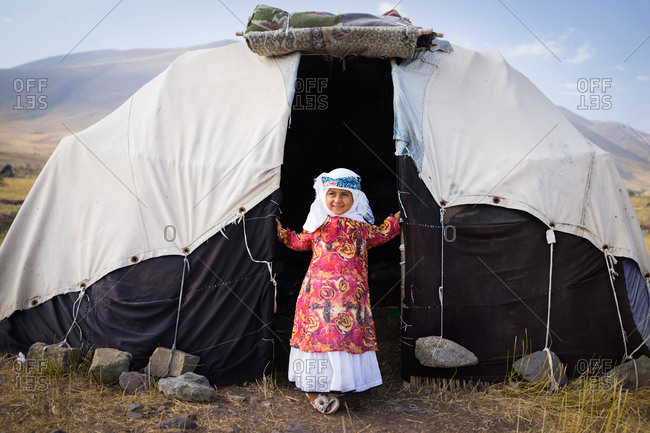 Little girl in tent in Iran