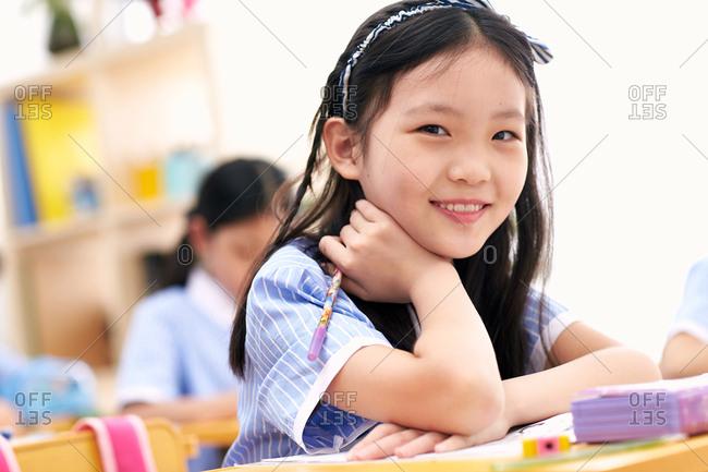 Primary school girls in the classroom