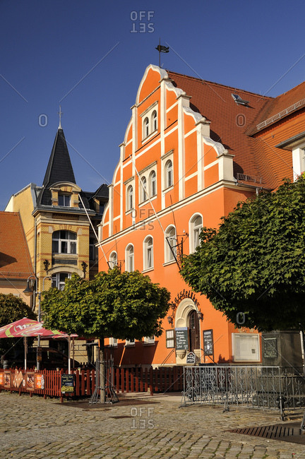 September 19, 2018: Germany- Saxony- Pulsnitz- Market Square- old townhall