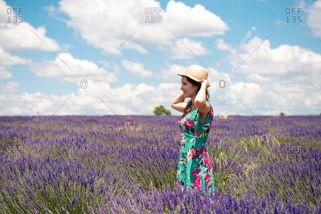 France- Provence- Valensole plateau- woman with straw hat standing in lavender field in summer