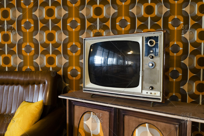 Tv set in a vintage living room