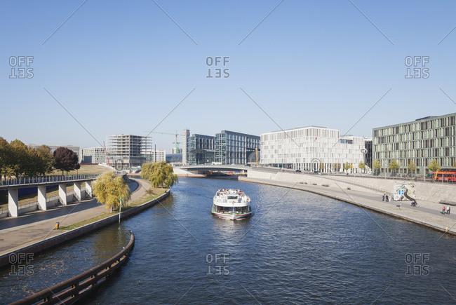 October 11, 2018: Germany- Berlin- disctrict Mitte- Central Station and modern architecture at Kapelle-Ufer of Spree river near Regierungsviertel- view from Crown Prince Bridge