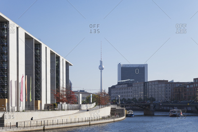 October 11, 2018: Germany- Berlin- Regierungsviertel- Marie-Elisabeth-Lueders-Building at Spree river and TV Tower Berlin in the background