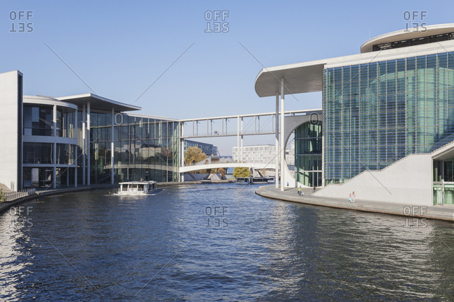 October 11, 2018: Germany- Berlin- Regierungsviertel- 'Band des Bundes'- Bridge between east and west- Paul-Loebe-Building and Marie-Elisabeth-Lueders-Building at Spree river