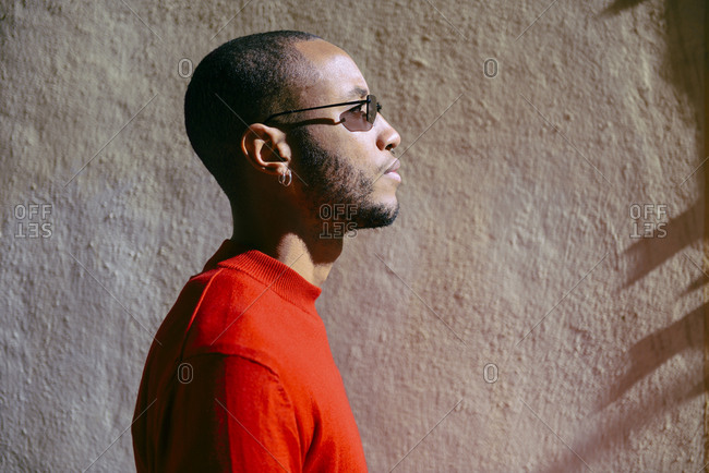 Profile of young man wearing sunglasses and red pullover at sunlight
