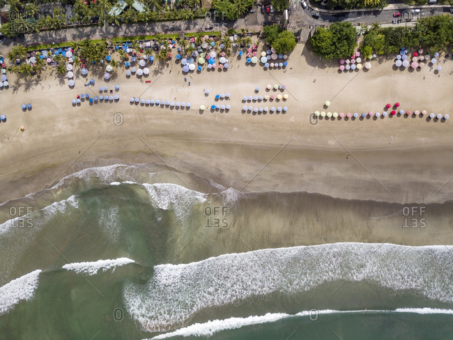 Bali- Kuta Beach- view to seashore and beach- aerial view