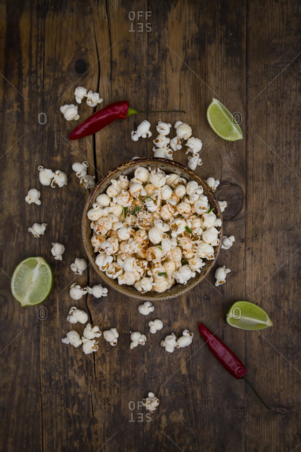 Bowl of popcorn flavoured with chili and lime
