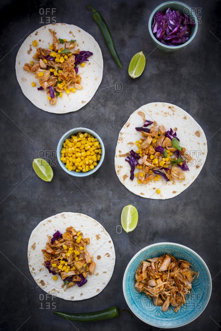 Wraps with marinated jackfruit- maize- red cabbage- coriander- lime and chili