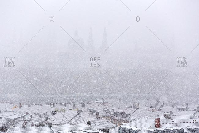 Germany- bavaria- wuerzburg- City view and snowfall