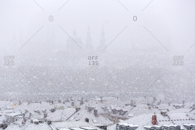 Germany- bavaria- wuerzburg- City view and snowfall
