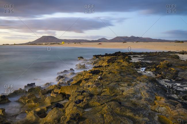Spain- Canary Islands- Fuerteventura- Corralejo- view to Parque Natural de Corralejo at morning twilight