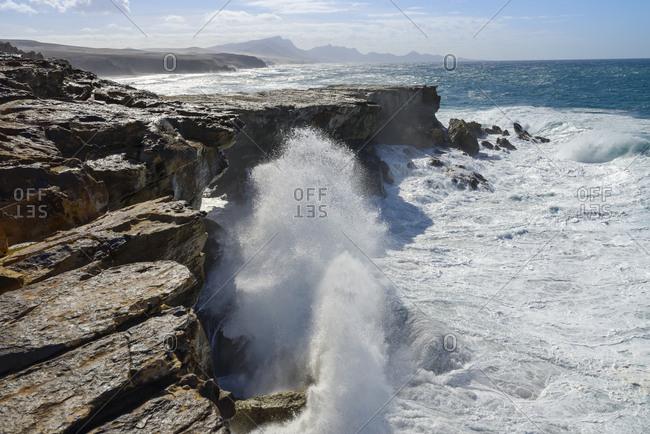 Spain- Canary Islands- Fuerteventura- rocky coast at Punta Guadalupe near La Pared