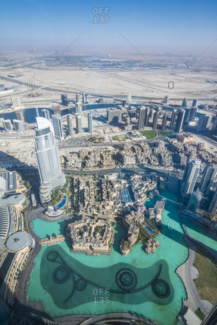 April 26, 2014: UAE- Dubai- The Dubai Fountain from above