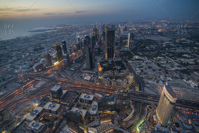 April 26, 2014: UAE- Dubai- Down Town Dubai and Sheikh Zayed Road at dusk