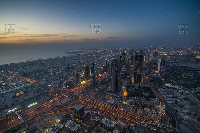 April 26, 2014: UAE- Dubai- Down Town Dubai and Sheikh Zayed Road at dusk