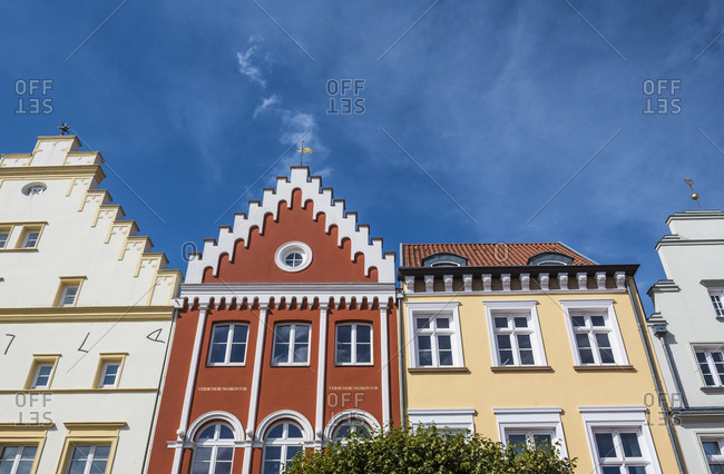 August 18, 2018: Germany- Greifswald- row of houses at market square