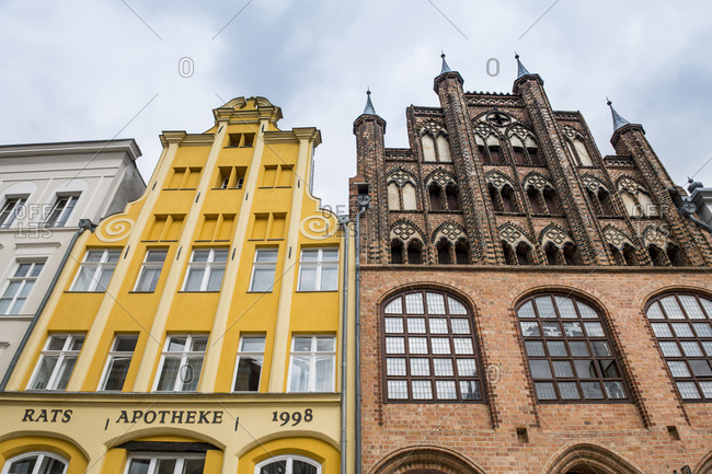 August 19, 2018: Germany- Stralsund- Historical houses- UNESCO world heritage