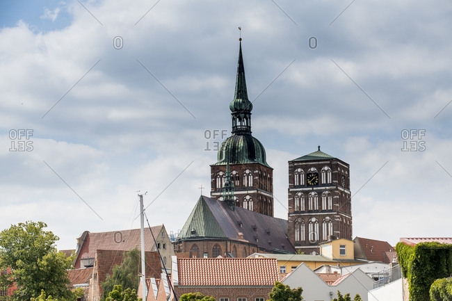 Germany- Stralsund- view to rooftops and St. Nicholas church