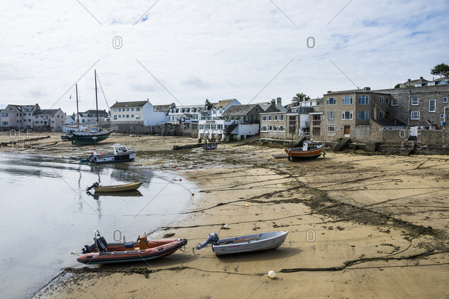 August 29, 2016: UK- England- Isles of Scilly- St Mary's- Hugh town- boats on the shore