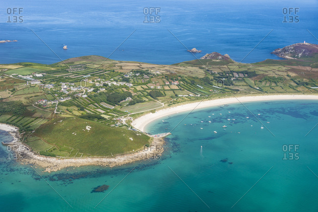 UK- England- Aerial view of the Isles of Scilly