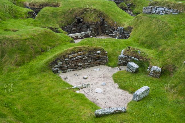 United Kingdom- Scotland- Orkney Islands- Mainland- Unesco world heritage sight- the stone build neolithic settlment of Skara Brae