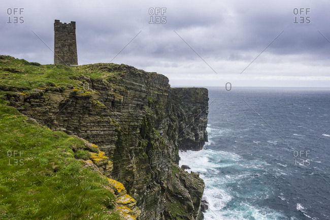 United Kingdom- Scotland- Orkney Islands- Kitchener Memorial- rocky cliff