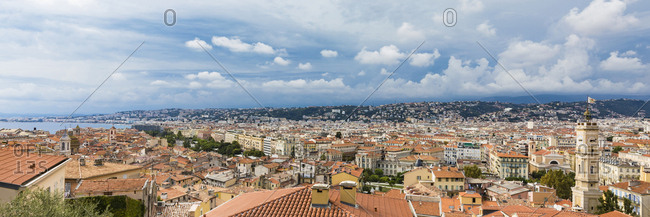 France- Provence-Alpes-Cote d'Azur- Nice- Old town and rain clouds- panoramic view