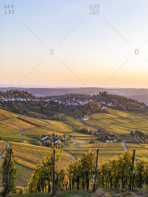 Germany- Baden-Wuerttemberg- Stuttgart Rotenberg- burial chapel and vineyards in autumn at sunset