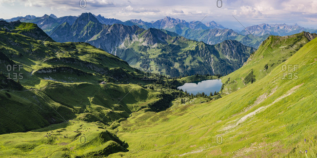 Germany- Bavaria- Allgaeu- Allgaeu Alps- Panorama of Zeigersattel- Seealpsee- Hoefats left