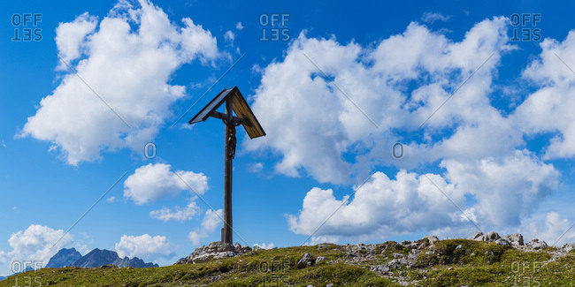 Germany- Bavaria- Allgaeu- Allgaeu Alps- summit cross near Rappensee