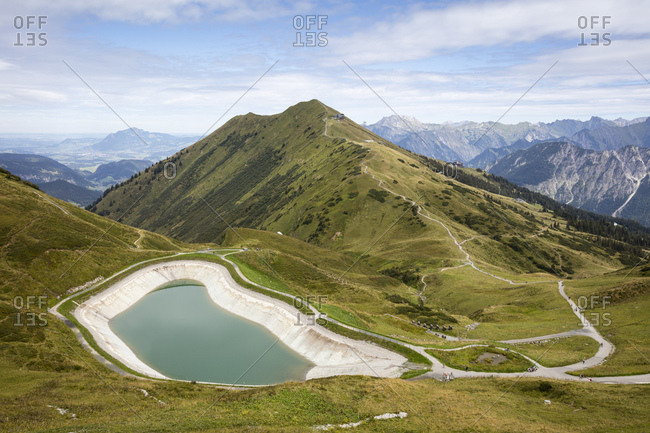 Germany- Bavaria- Allgaeu- Allgaeu Alps- View from mountain station Kanzelwand to mountain lake