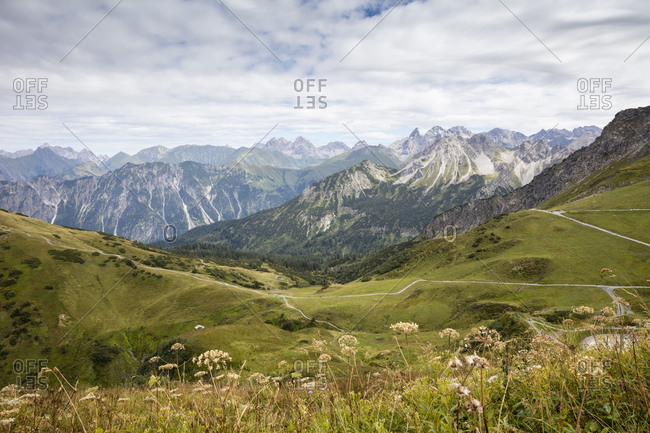Germany- Bavaria- Allgaeu- Allgaeu Alps- View from mountain station Kanzelwand