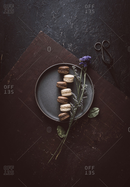 Overhead view of macarons on a plate