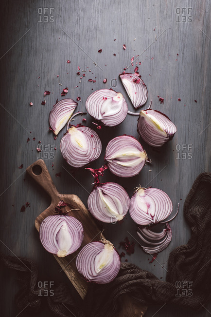 Overhead view of  fresh sliced red onion