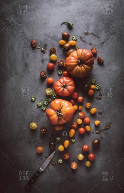 Overhead view of heirloom vegetables