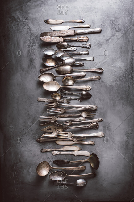 Overhead view of antique flatware