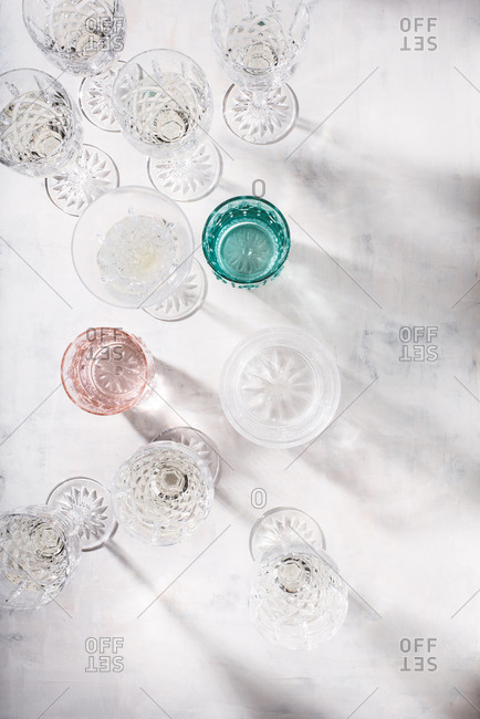 Overhead view of vintage drinking glasses
