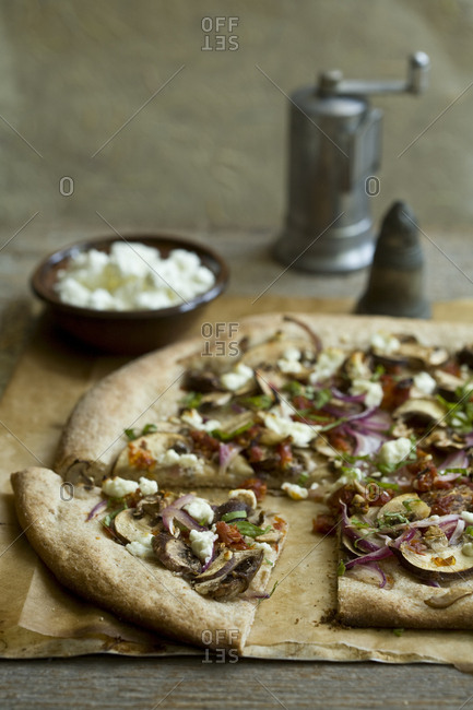 Whole wheat mushroom pizza with goat cheese