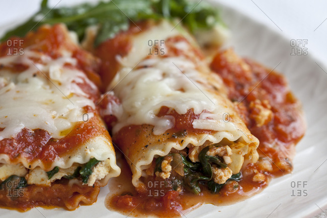 Close-up of plate of vegetable lasagna