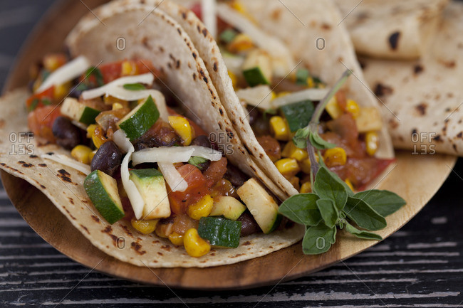 Close-up of vegetarian tacos