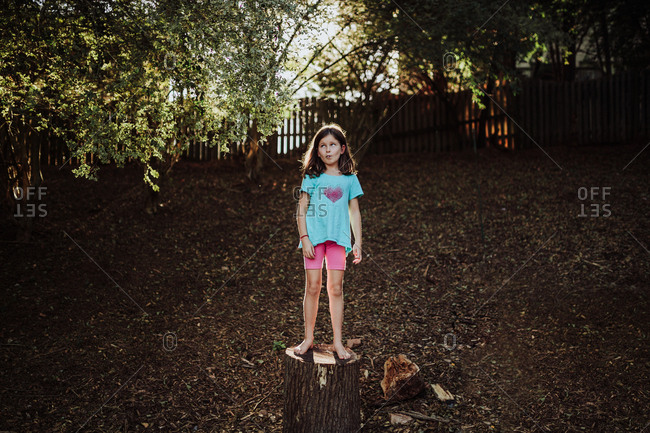 Girl stands on a tree stump