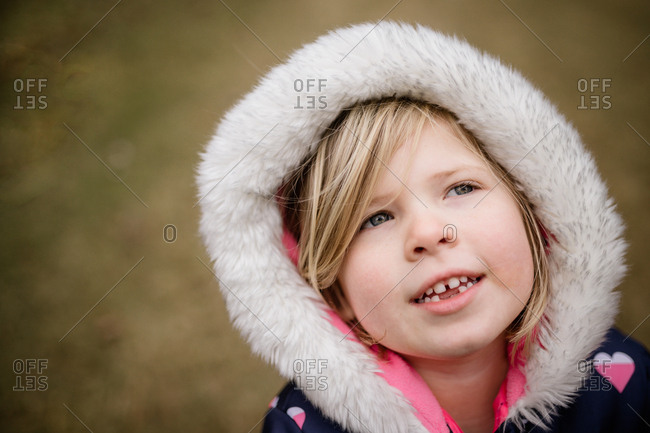 Girl with a furry winter coat