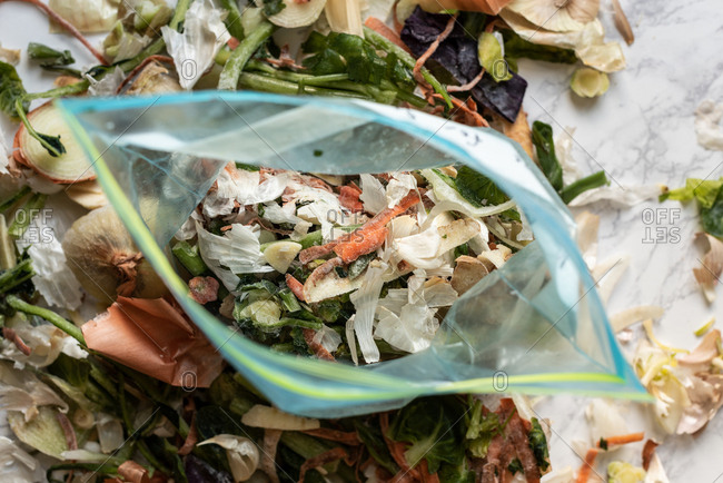 Vegetable food scraps in a bag